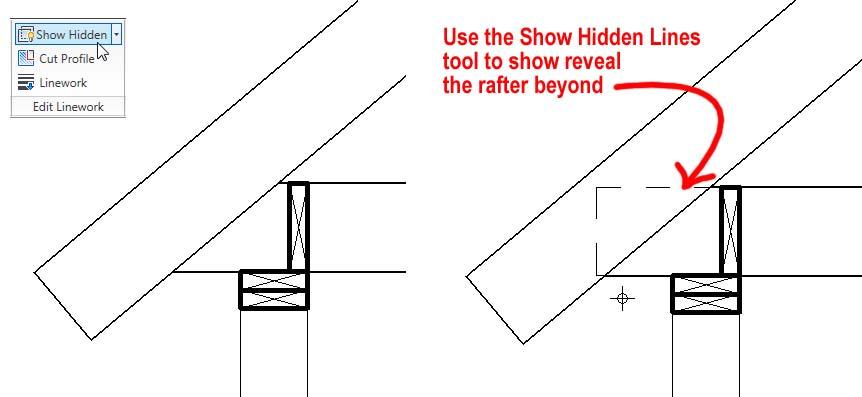 Mostrar líneas ocultas muestra objetos ocultos como líneas discontinuas